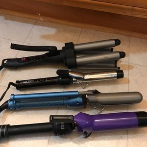 Accessories - All 4 curling irons! BaByliss Pro and Hot Shots...